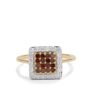 3/4ct Red & White Diamond 9K Gold Ring