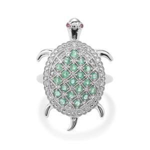 Zambian Emerald, Rhodolite Garnet Ring with White Zircon in Sterling Silver 0.92ct