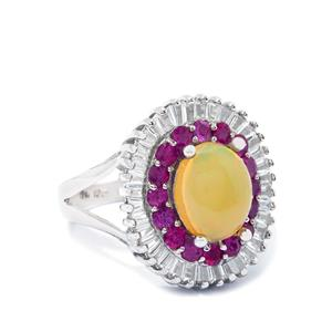Ethiopian Opal Sterling Silver Ring ATGW 2.70cts
