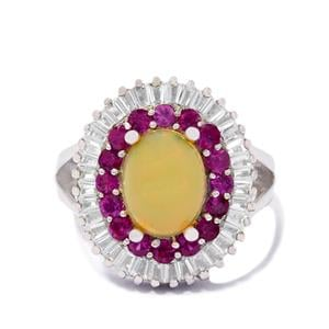 Pink Sapphire Ring with White Topaz in Sterling Silver 2.70cts
