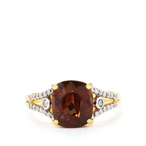 Color Change Garnet Ring with Diamond in 18k Gold 4.47cts