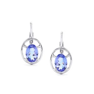AA Tanzanite Earrings  in Platinum Plated Sterling Silver 1.08cts