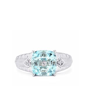 Lehrer TorusRing Sky Blue Topaz Ring with Diamond in 10K White Gold 3.72cts