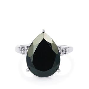 Black Spinel & White Topaz Sterling Silver Ring ATGW 10.03cts