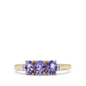 AA Tanzanite & Diamond 10K Gold Ring ATGW 0.90cts