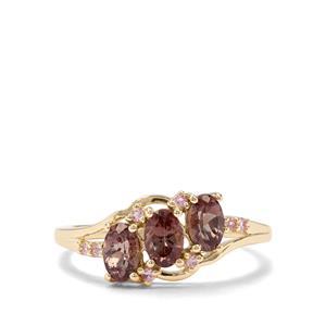 Tsivory Colour Change Garnet & Sakaraha Pink Sapphire 9K Gold Ring ATGW 1.44cts