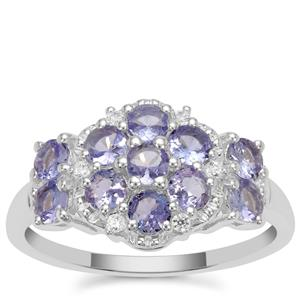 Tanzanite Ring with White Zircon in Sterling Silver 1.20cts