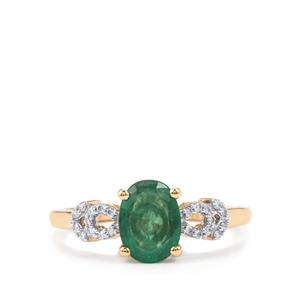 Minas Gerais Emerald Ring with Diamond in 18K Gold 1.16cts