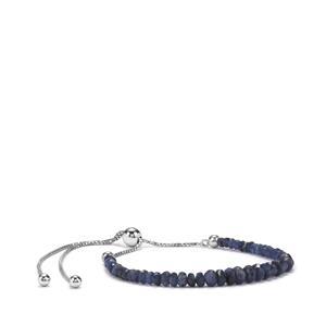 12ct Ceylon Sapphire Sterling Silver Slider Graduated Bead Bracelet