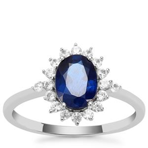 Santorinite™ Blue Spinel Ring with White Zircon in 9K White Gold 1.66cts
