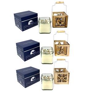 Gem Auras Woodland Lantern Candle - Winter Glory Fragrance - Moss Agate ATGW 30cts
