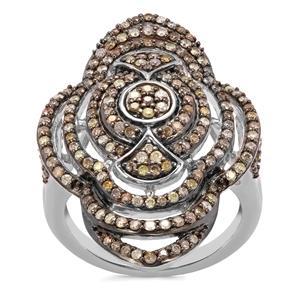 Multi-Colour Diamond Ring in Sterling Silver 1ct
