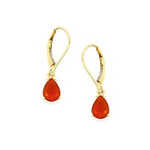 1.56ct AAA American Fire Opal 14K Gold Earrings