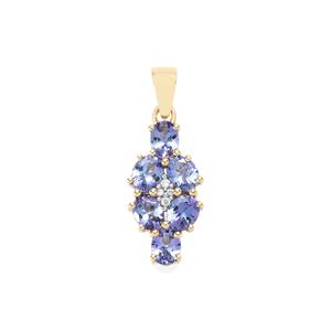 AA Tanzanite Pendant with White Zircon in 10K Gold 2.06cts