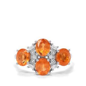 Mandarin Garnet & White Zircon Sterling Silver Ring ATGW 3.79cts