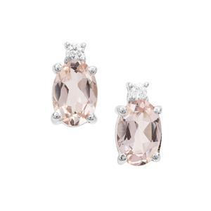 Zambezia Morganite Earrings with White Zircon in Sterling Silver 0.74ct