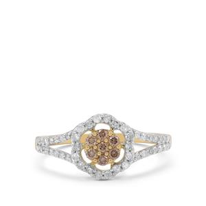 Champagne Diamond Ring with White Diamond in 9K Gold 0.51ct