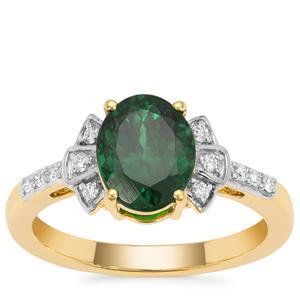Tsavorite Garnet Ring with Diamond in 18K Gold 2.50cts