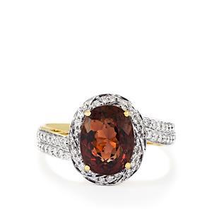 Color Change Garnet & Diamond 18K Gold Lorique Ring MTGW 4.23cts