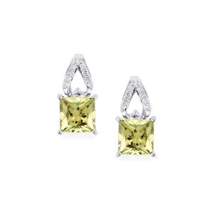 Csarite® Earrings with Diamond in 14K White Gold 2.62cts