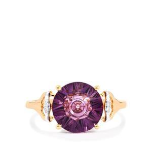 Lehrer QuasarCut Ametista Amethyst Ring with Diamond in 10K Rose Gold 2.78cts