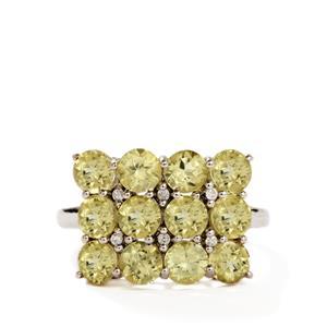 Miloko Mavo Apatite & Diamond 9K White Gold Ring ATGW 3.30cts