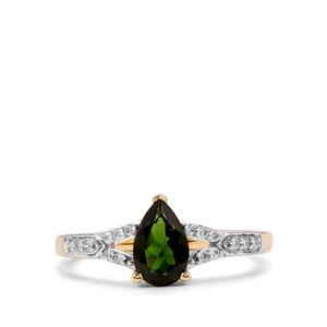 Chrome Tourmaline Ring with Diamond in 14k Gold 0.84cts