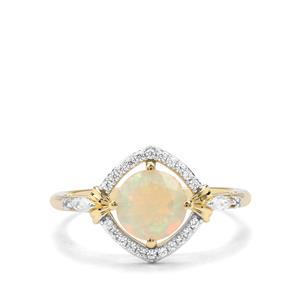 Ethiopian Opal & White Zircon 9K Gold Ring ATGW 1.05cts