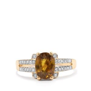 Ambilobe Sphene Ring with Diamond in 18K Gold 2.24cts