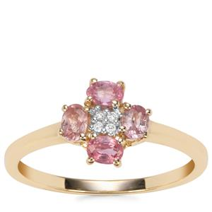 Padparadscha Sapphire Ring with Diamond in 9K Gold 0.69ct