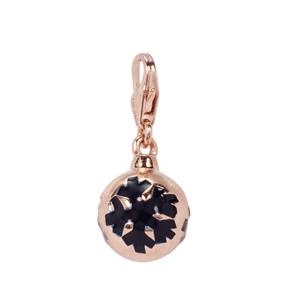 Bauble with Snowflakes Milano Charms in Rose Gold Plated Sterling Silver