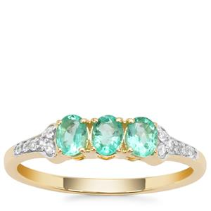 Colombian Emerald Ring with White Zircon in 9K Gold 0.59ct