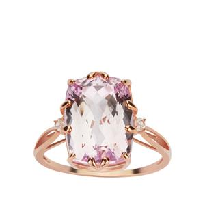 Minas Gerais Kunzite Ring with White Zircon in 9K Rose Gold 8.80cts