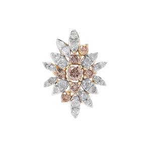 Champagne Diamond Pendant with White Diamond in 9K Gold 0.56ct