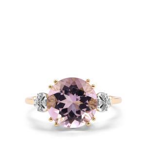 Rose De France Amethyst & Diamond 9K Gold Ring ATGW 3.27cts