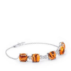 Lion's Paw Shell (10x10mm) & White Topaz Sterling Silver Bracelet