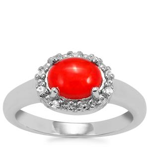 Ethiopian Red Opal Ring with White Zircon in Sterling Silver 0.90cts