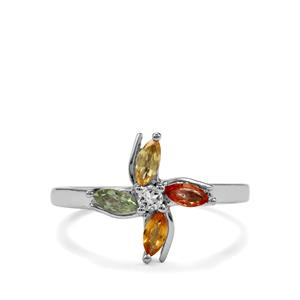 Rainbow Sapphire & White Topaz Sterling Silver Ring ATGW 0.57cts