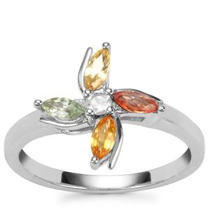 Rainbow Sapphire Ring with White Topaz in Sterling Silver 0.57cts