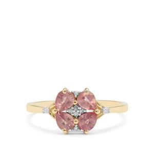 Padparadscha Sapphire & Diamond 9K Gold Ring ATGW 1.22cts