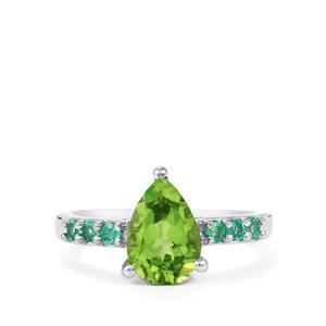Changbai Peridot & Zambian Emerald Sterling Silver Ring ATGW 2.07cts