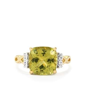 Ilakaka Natural Green Apatite & White Zircon 9K Gold Ring ATGW 4.57cts