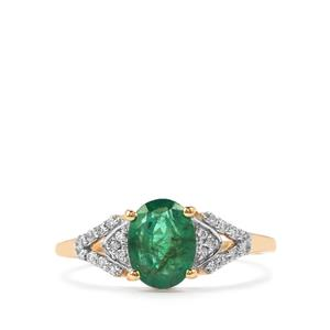 Minas Gerais Emerald Ring with Diamond in 18K Gold 0.97cts