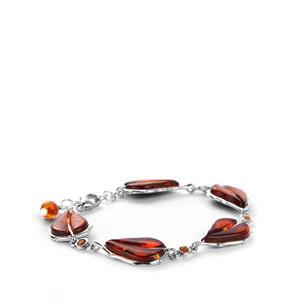 Baltic Cognac Amber & Citrine Sterling Silver Bracelet