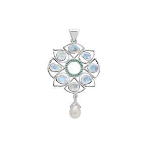 Rainbow Moonstone, Zambian Emerald Pendant with Kaori Cultured Pearl in Sterling Silver