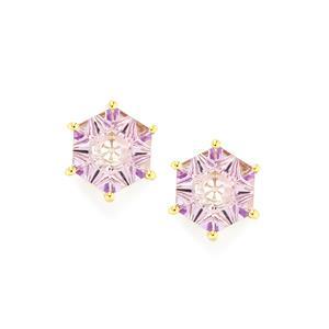 Lehrer QuasarCut Rose De France Amethyst Earrings in 10K Gold 3.56cts