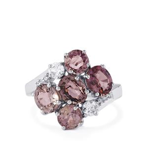 Burmese Spinel & White Zircon Sterling Silver Ring ATGW 4.90cts