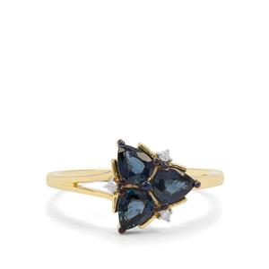 Nigerian Blue Sapphire Ring with Diamond in 9K Gold 1.18cts