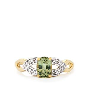 Ilakaka Natural Green Sapphire Ring with Diamond in 10k Gold 1.11cts