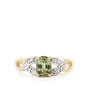 Ilakaka Natural Green Sapphire & Diamond 9K Gold Ring ATGW 1.11cts